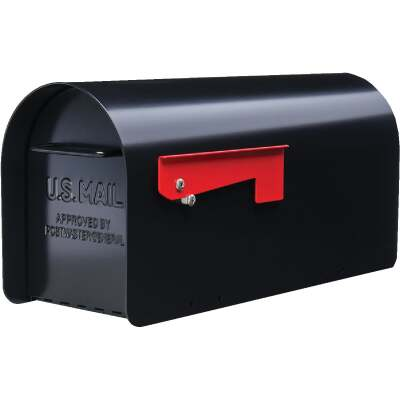 Gibraltar Ironside Black Steel Post Mount Mailbox