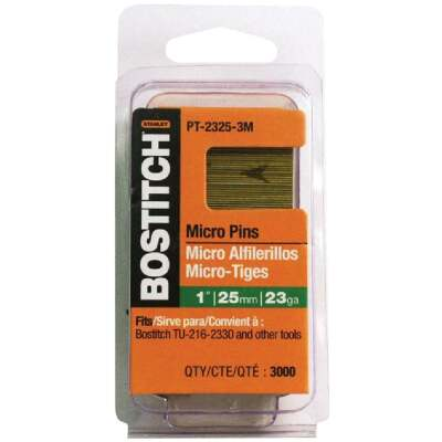 Bostitch 23-Gauge Coated Pin Nail, 1-3/16 In. (3000 Ct.)