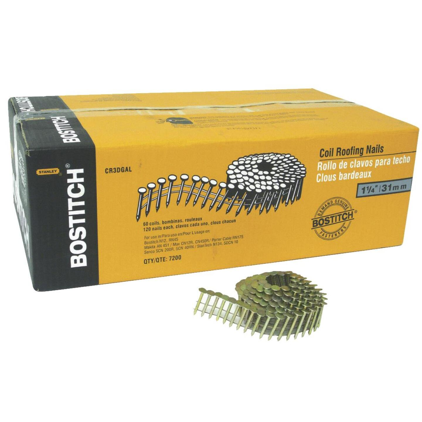 Bostitch 15 Degree Wire Weld Galvanized Coil Roofing Nail, 1-1/4 In. x .120 In. (7200 Ct.) Image 1