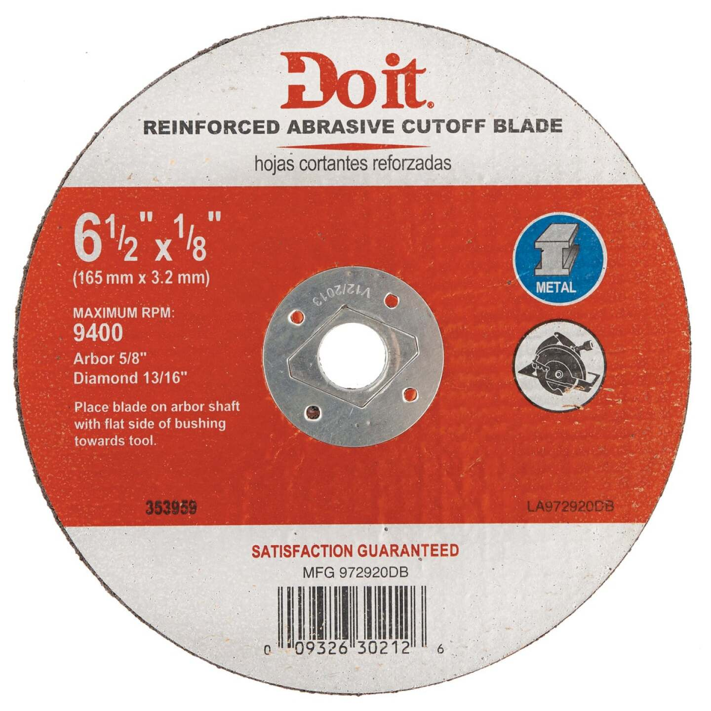 Do it Type 1 6-1/2 In. x 1/8 In. x 5/8 In. Metal Cut-Off Wheel Image 1