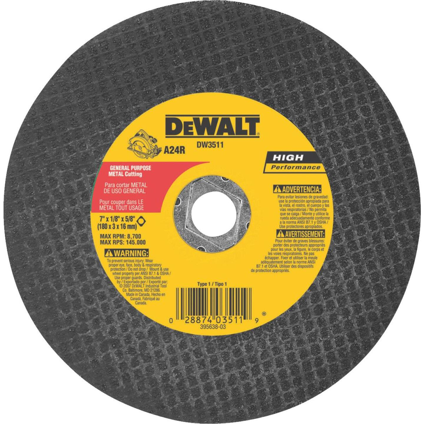DeWalt HP Type 1 7 In. x 1/8 In. x 5/8 In. Metal Cut-Off Wheel Image 1