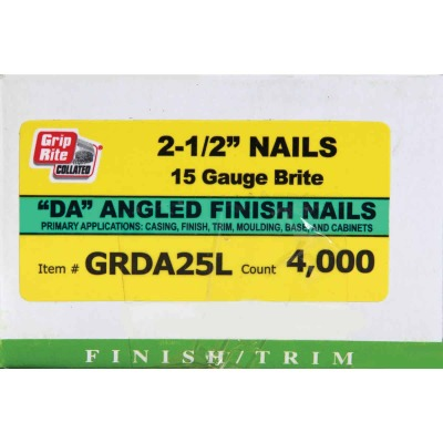 Grip-Rite 15-Gauge Bright 34 Degree DA-Style Angled Finish Nail, 2-1/2 In. (4000 Ct.)
