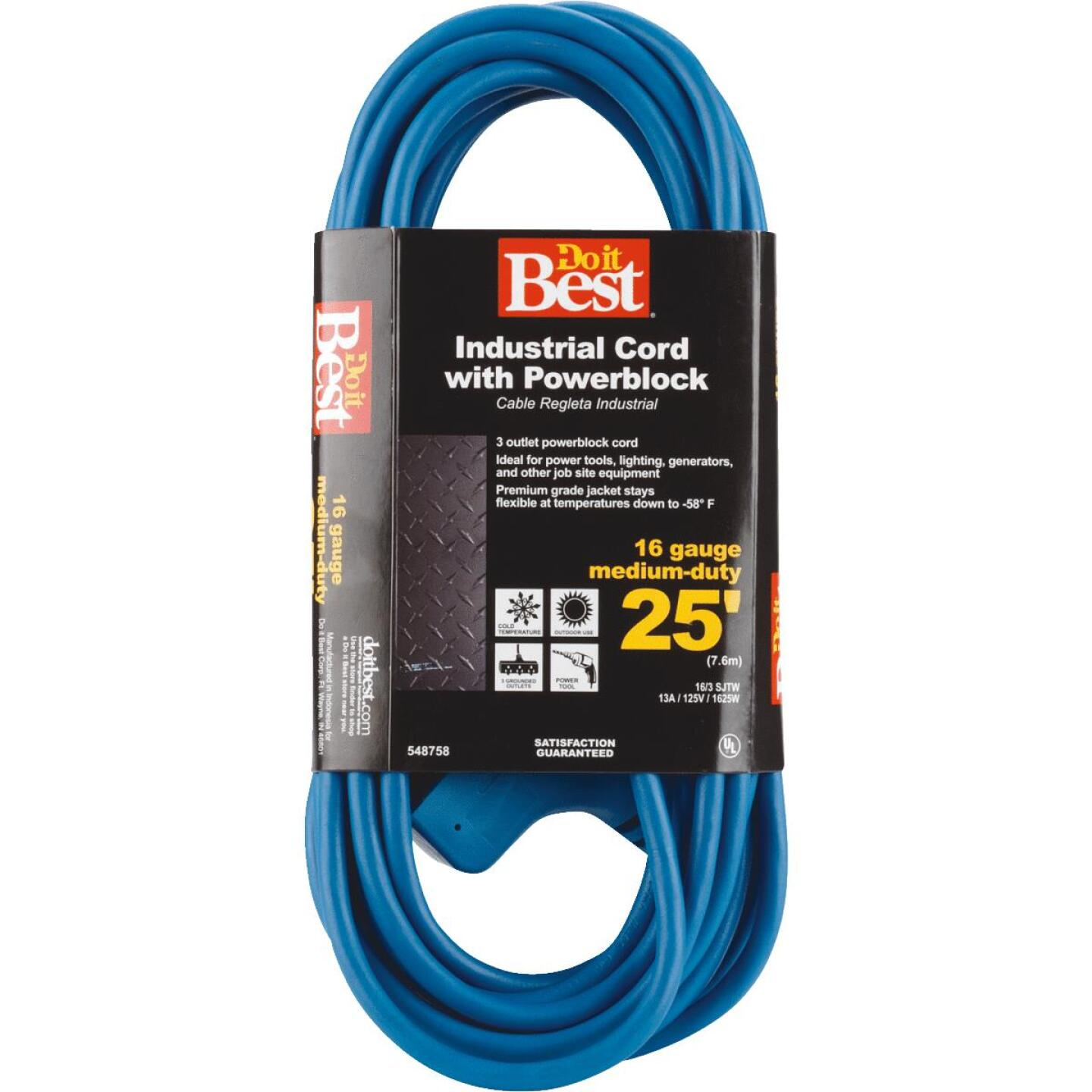 Do it Best 25 Ft. 16/3 Extension Cord with Power Block Image 2
