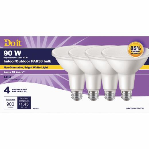 Do it 90W Equivalent Bright White PAR38 Medium LED Floodlight Light Bulb (4-Pack)