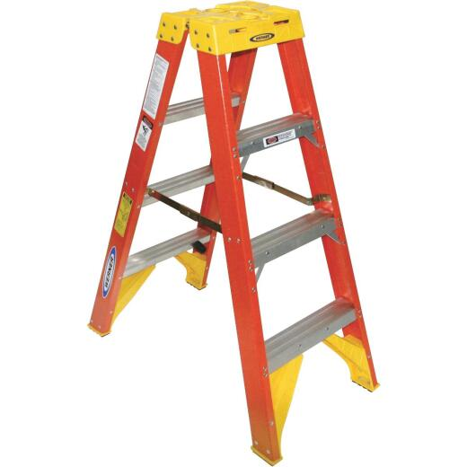 Werner 4 Ft. Fiberglass Twin Step Step Ladder with 300 Lb. Load Capacity Type IA Ladder Rating